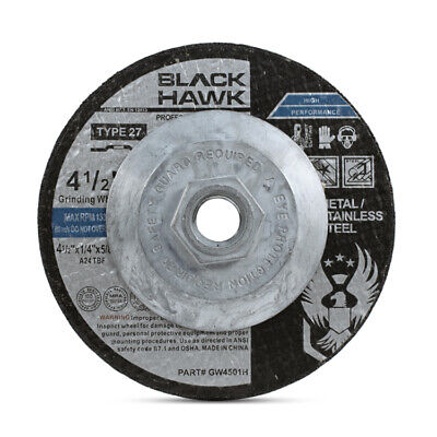"5 Pack - 4-1/2"" x 1/4"" x 5/8""-11 Hubbed Metal Grinding Wheels Type 27 Hub Discs"