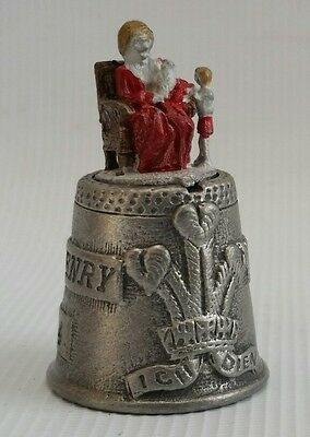 Vintage Pewter Thimble Diana with Prince Henry (Harry) & William 15th Sept 1984