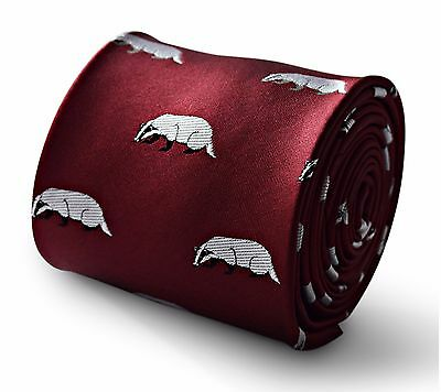 Maroon Mens Tie with embroidered Badger Print by Frederick Thomas FT3336