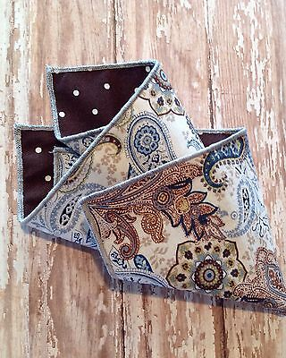 NEW Pocket Square Brown White Blue Paisley Floral Polka Dots Reversible Gift