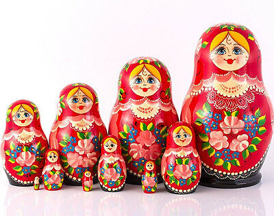 Nesting Doll Wooden Matryoshka Russian Doll Hand Painted Red With Flowers