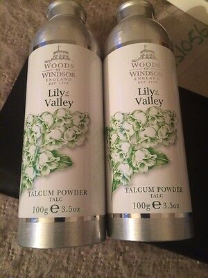 2 X Woods of windsor lily of the valley talcum powder 100g