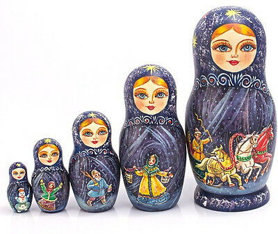 Nesting Doll Wooden Matryoshka Russian Doll Hand Painted Winter Troika