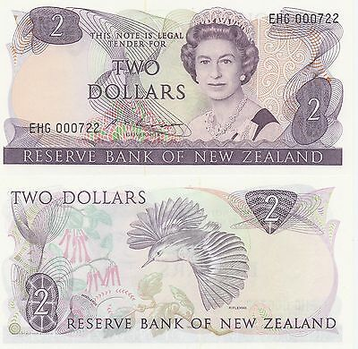 New Zealand 2 Dollars Banknote,1985-89 Uncirculated Condition Cat#170-B-0722