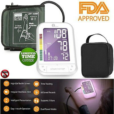 Upper Arm Cuff Blood Pressure Monitor Automatic Professional Digital Pulse+Case