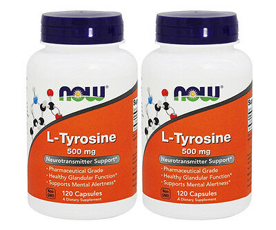 2x NOW Foods L-Tyrosine 500 mg 120 Caps Neurotransmitter Support