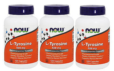 3x NOW Foods L-Tyrosine 500 mg 120 Caps Neurotransmitter Support