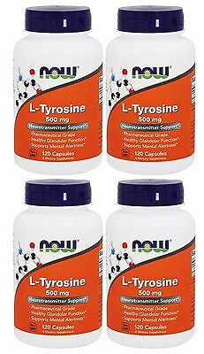 4x NOW Foods L-Tyrosine 500 mg 120 Caps Neurotransmitter Support