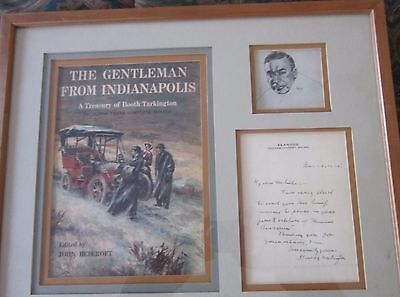Pulitzer Prize Winning Booth Tarkington Letter, Matted, Framed with Image, Cover