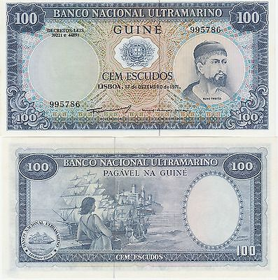 Portuguese Guinea 100 Escudos Banknote,1971 Uncirculated Condition Cat#45
