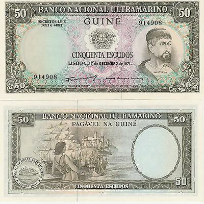 Portuguese Guinea 50 Escudos Banknote,1971 Uncirculated Condition Cat#44