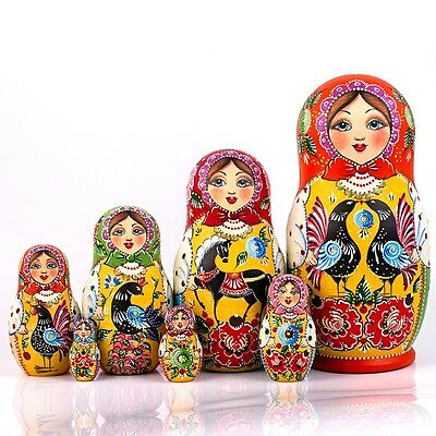 Nesting Doll Matryoshka Russian Doll Hand Painted in Russia Gorodets Traditional