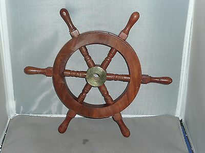 "12"" Ships Wheel ~ Wood / Brass ~ Wooden ~ Nautical Maritime"