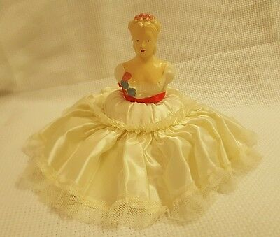 Antique Vintage 1900's Porcelain Chalkware Half Doll Pin Cushion