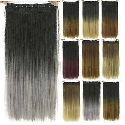 24inch Long Straight Ombre Hair Extension Synthetic Clip In Hair Extensions
