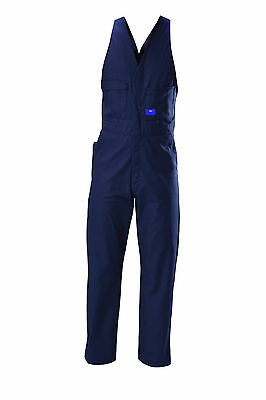New Mens Overalls Action Back Sleeveless Cotton Drill Navy Blue WS1115 77R