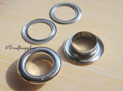 eyelets metal with washer grommets nickel round 40 sets 14 mm G50