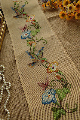Beautiful Hummer Morning Glory Long Bell Pull Preworked Needlepoint Canvas