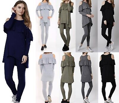Womens Ladies Cold Shoulder Frill Ruffle Loungewear Lounge Jogging Set Tracksuit