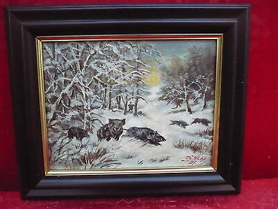 Pretty, old painting__HUNTER WITH wildschweinrotte__ Signed: G.G.Choice _