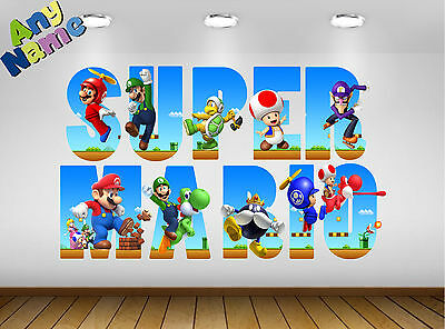 Personalised SUPER MARIO Name Letters Wall stickers decals S2, 3 SIZES available
