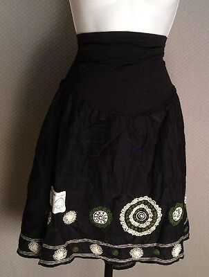 Pea In The Pod Maternity Pregnancy Skirt Black Embriodery Secret Fit Belly NWT L