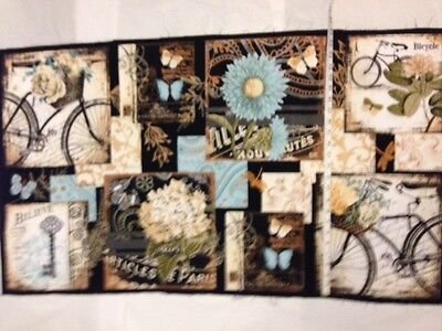 Quilt Blocks 100% cotton BICYCLE BUTTERFLY BY WILMINGTON VINTAGE GARDEN