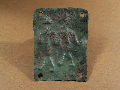 Ancient Bronze Plaque 2 Deities Image Phoenician 1300-900 Bc