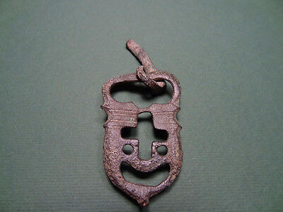 Ancient Buckle Theatrical Mask & Cross Sign Bronze Byzantine 400-600 Ad
