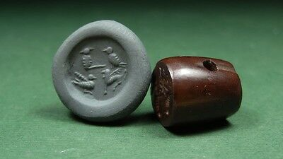 ANCIENT ENGRAVED BEAD , BIRDS & MYTH ANIMALS HEMATITE SASSANIAN 4th CENTURY AD