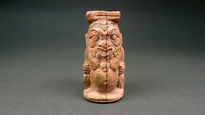 Ancient God Bes Cosmetic Container Egyptian-Phoenician Late Period 716-30 Bc