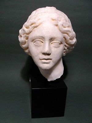 Ancient Marble Head Of Female Roman 100-300 Ad