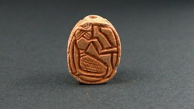 Ancient Scarab , God Heh Of Eternal Life , Egyptian Late Period 716-30 Bc
