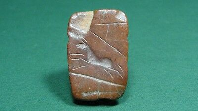 ANCIENT STONE BEAD , LEAPING HORSE IMAGE , 1st MILLENNIUM BC ( PROBABLY GREEK )