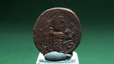 ANCIENT STANDING EMPEROR BRONZE COIN ARAB-BYZANTINE 8th CENTURY AD