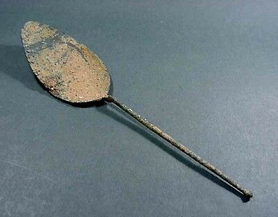 Large Ancient Bronze Spoon Greco - Roman 200 Bc - 100 Ad