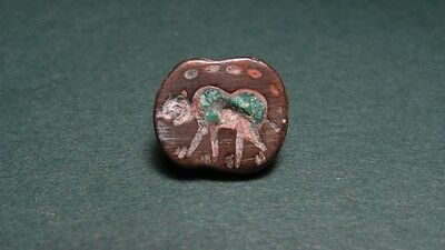 SASSANIAN BRONZE BEAD WITH ENGRAVED BEAR IMAGE  4th CENTURY BC