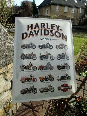 Official HARLEY-DAVIDSON Motorcycles 14 Motorcycles Models Embossed Wall Sign