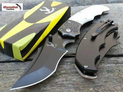 """7"""" White Marble Style Tactical Spring Assisted Pocket Knife Skull Design w/ Clip"""