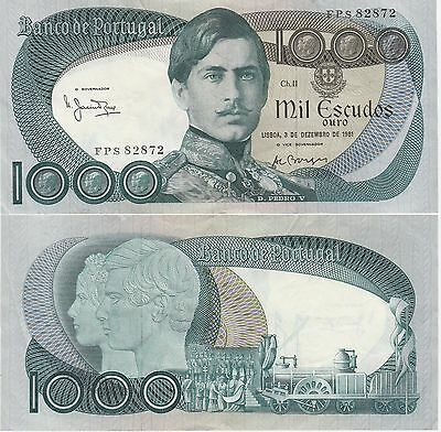 Portugal 1000 Escudos Banknote,3.12.1981,Very Fine Condition Cat#175-E-2872