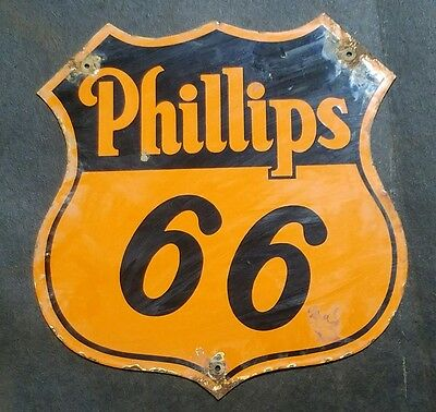 Phillips 66 Gasoline Sign Steel Thick Porcelain Vintage Gas Oil Americana