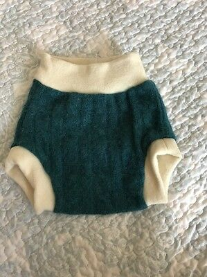 NEW Cashmere And Merino Wool Soaker Small Diaper Cover  Green Blue