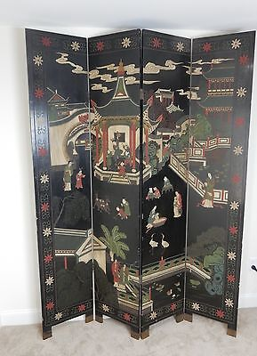 Beautiful Hand painted and carved Chinese Room divider 84 inches