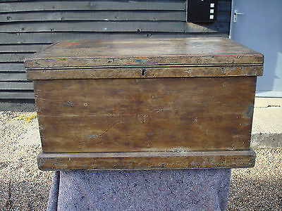 CHARACTERFUL 19th CENTURY PINE BLANKET BOX CHEST TRUNK ORIGINAL PAINT VICTORIAN