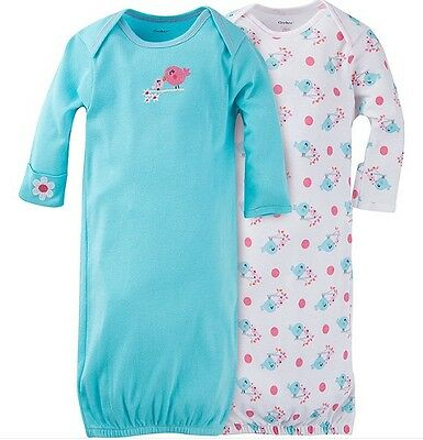 GERBER BABY GIRL Lap Shoulder Gowns 2-Pack - BIRDS - Baby Shower Gift - Blue NWT