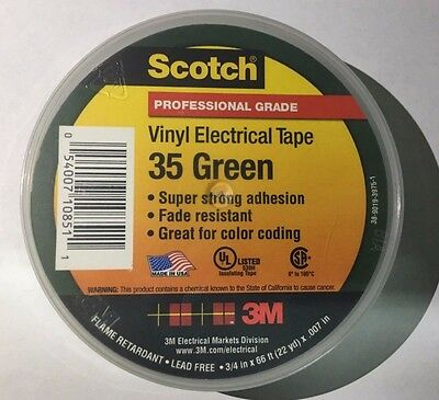 """New 3M 35 Electrical Tape 3/ 4"""" x 66' Green #35 054007108511"""