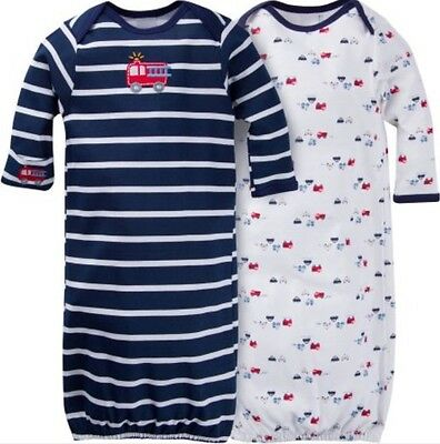 GERBER BABY BOY Lap Shoulder Gowns 2-Pack - FIRETRUCK Baby Shower Gift Blue NWT