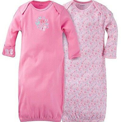 GERBER BABY GIRL Lap Shoulder Gowns 2-Pack - BUTTERFLY Baby Shower Gift Blue NWT