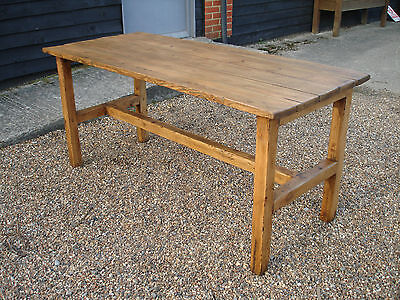 Outstanding Old Pine Farmhouse Style Refectory Dining Kitchen Table Plank Top