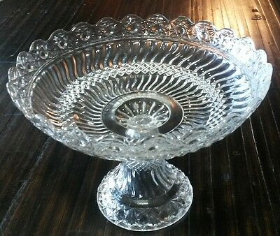 EAPG Swirl Glass Pedestal Bowl Centerpiece Compote